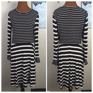 LOFT striped dress, fluted sleeves, black, white